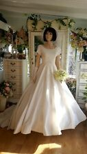 Vtg1950s Princess Style Wedding Gown cap sleeve sequin lace and pearl bodice 4/6