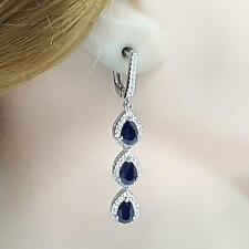 4.40ctw Kanchanaburi Sapphire & Diamond Cut White Sapphire 925 Silver Earrings