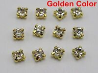 100 Golden Clear Crystal Glass Rose Montees 6mm SS28 Sew on Rhinestones Beads