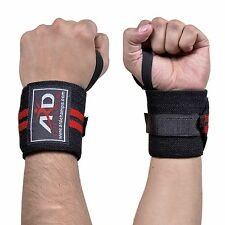 Weight Lifting Training Wrist Support Wraps Gym Cotton Bandage Straps B&Red 18""
