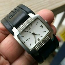 Fossil rhinestone Watch Genuine Black Leather Wide Band white Dial W/Can Box