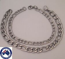 Bulk Lot 2x Stainless Steel Bracelet Curb Figaro Chain Silver Tone Couples Love