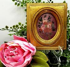 Vintage Miniature Roses Painting ART Gold Gilt Frame Floral Cottage Victorian