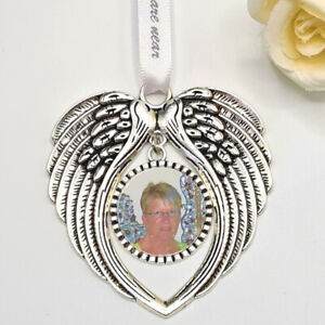 Personalised Angel Wings Photo Memorial Hanging Decoration Remembrance