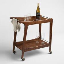 Mid-Century Retro Bar Cart w/Lower Shelf ~ Walnut Wood ~ Locking Caster Wheels