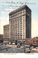 Cleveland Ohio~New England Building~Storefronts~Horse & Buggys~1907 Postcard