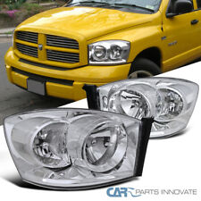 06-08 Dodge Ram 1500 2500 3500 Pickup Replacement Chrome Clear Headlights Lamps