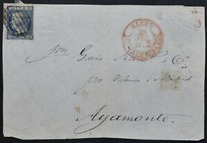 SPANIEN 1852 Briefvorderseite mit 6 Rs. grünblau, die Ni.Nr. 16