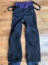 PATAGONIA Nitro Snow Board Ski Bib Pants Black Purple Mesh Lined Size 30