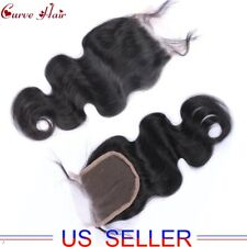 """4X4"""" Lace Closure 8A Brazilian Virgin Hair Free Part Bleached Knot Natural Weave"""