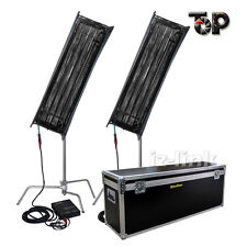 As Kinoflo 2Kit 300w 4FT 4Bank Fluorescent Light+Ballast Tubes+C-Stand+Egg Crate