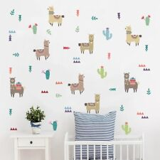Nordic Animal Wall Decal Llama Alpaca Cartoon Wall Sticker Kids Room Art Decor