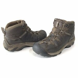 Keen Targhee II Mid Womens 9 Waterproof Hiking Brown Boots 5217-SBFS Blue Trim