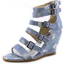 Sandali e scarpe blu zeppa per il mare da donna