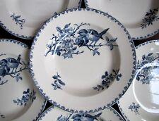 6 Assiettes service Oiseau Favori Bleu Faïence de Sarreguemines
