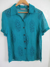 AMANDA SMITH womens sheer blouse S SMALL emerald green button up down shirt