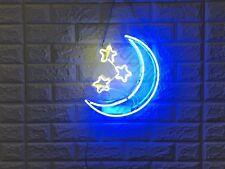 "New Moon stars Acrylic Lamp Wall Decor Artwork  Neon Light Sign 13""x 12"""