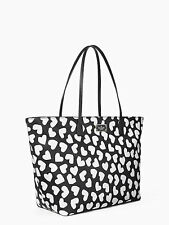 NWT Kate Spade Black Avenue Printed Margareta Black & White Heart Print Tote Bag