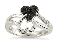 Diamond Heart Ring .925 Sterling Silver & Black Diamond Dual Heart Ring .10ct NR