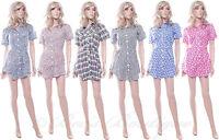 BNWT Ladies Cotton Summer Shirt Dress Different Patterns Size 10 12 14 New