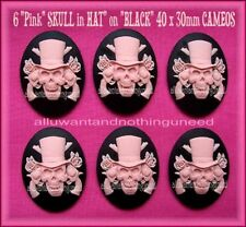 6 Goth Punk Halloween Zombie PINK SKULL in HAT w/ GUNS ROSE 40mm x 30mm CAMEOS