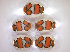 "Handmade polymer clay flat oval beads – Clownfish (""Nemo"")"