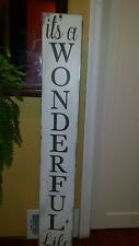 It's a Wonderful Life Porch Sign Rustic Wood Vertical Primitive Christmas Sign