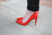 Rare! ZARA Woman Red Leather High Heels Shoes UK 4 Euro 37 Bloggers Fave