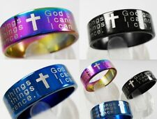 36PCS Serenity Prayer Stainless Steel Band Ring Cross Lots jewelry  christian