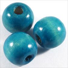 Lot de 20 Perles rondes en Bois 12mm Bleu Turquoise
