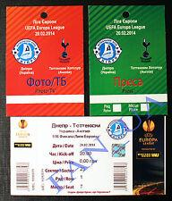 3 ticket Dnipro Dnepr Ukraine TOTTENHAM HOTSPURS England (Press,TV) 2013/2014