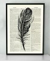 Feather Art Print  Antique Book page Art Print  Dictionary Page Art Print