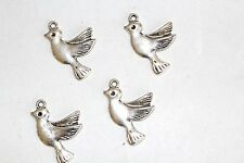 8pc Silver Bird Charms 1-3 day Shipping
