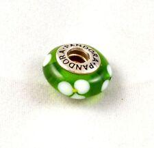 Authentic Pandora GREEN WHITE FLOWERS Charm Bead  Murano Glass