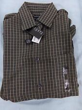 Men's 14 14 1/2 S/P VanHeusen Brown Plaid Button Down Long Sleeve Shirt NEW