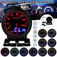 ELUTO 2'' 12V 52mm Turbo Boost Medidor de Presión -30~30PSI 10 Colores LED Coche