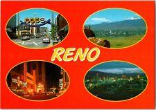 1970's Downtown Hotel Casino Reno Nevada Postcard Vintage 4 Skyline, Street View