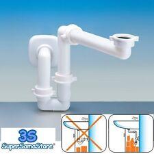 """3S SIFONE PVC PLASTICA SALVASPAZIO PER LAVABO ATTACCO 1"""" e 1""""1/4 MOBILE BAGNO"""