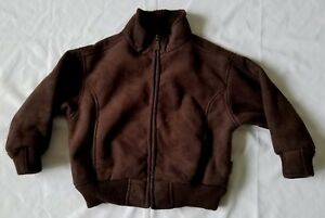 Free Country Kids Boys Size 4  Jacket Brown Full Zip Collar Pockets (B7)