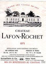 Original Vintage 1971 CHATEAU LAFON-ROCHET Wine LABEL France Bordeaux