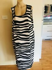 Ladies BNWT Black & White Stripe RTM Dress Plus Size 22 Summer Long Sleeveless