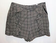 ZARA Brand Black Brown Check Side Pocket Dress Shorts Size S NEW #TM117