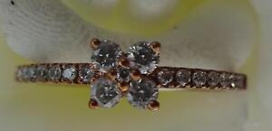 Real 9ct red/pink gold 4 stone ring .30cts Size M round brilliant cut diamonds