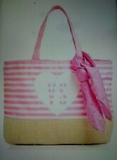 New Victorias Secret Ultimate Pink Stripe Beach Tote And Scarf Straw Hand Bag