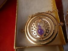 Harry Potter Gold Time Turner Hermione Granger Rotating Hourglass Purple Sand!