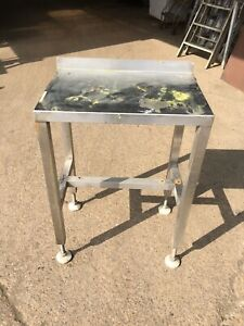 SMALL STAINLESS STEEL TABLE / WORKBENCH, WITH ADJUSTABLE FEET (5398)