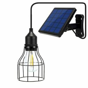 Hanging Solar LED Light Outdoor Caged Lantern Lamp With Solar Panel Glass Bulb