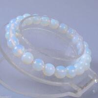 """Wholesale 8mm Opal Moonstone Round Gemstone Beads Stretchable Bracelet 8.2"""""""
