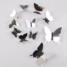 12Pcs Mirror Butterfly DIY 3D Art Silver Acrylic Wall Sticker Home Decorations