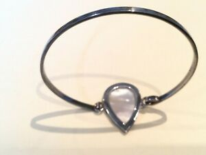 Antique Vintage Solid Silver Cuff Bracelet - Mother of Pearl Heart.    (G1057)